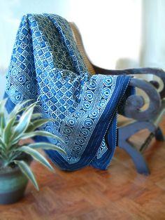 Starry Nights ~ Designer Blue India Batik Quilted King Bedspread