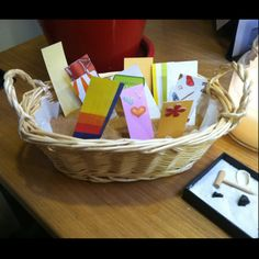 "Good sentiments basket: the guidance counselor at my school has this in her office. The slips of paper say things like ""you find the kindness in others"" or ""people trust you"". Kids enjoy picking one especially after talking to her about something difficult. I think it's a great idea to give kids a reminder of how special they are!!"