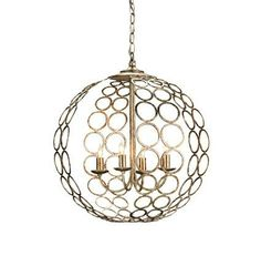 The Tartufo Chandelier is an excellent airy lantern. Pairs of circles are joined together to form the globe shape of this modern four light lantern. The Tartufo Chandelier is cool in silver leaf and contemporary in design, making it the perfect alternative to traditional dark iron lanterns.