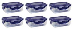Frischhaltedosen Vorratsdosen transparent mit blauem Deckel 300 ml 6 Stück