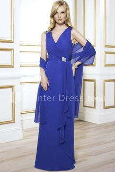 $123.69-Sleeveless V-Neck Chiffon Blue Long Mother Of The Bride Dress with Shawl. http://www.ucenterdress.com/sleeveless-v-neck-chiffon-mother-of-the-bride-dress-with-draping-and-cape-pMK_300246.html.  Tailor Made mother of the groom dress/ mother of the brides dress at #UcenterDress. We offer a amazing collection of 800+ Mother of the Groom dresses so you can look your best on your daughter's or son's special day. Low Prices, Free Shipping. #motherdress