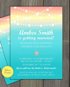 beach theme bridal shower invite sunset coral and aqua
