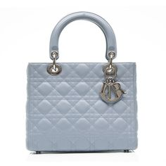 Pre-Owned Christian Dior Baby Blue Lady Dior Handbag (7.550 BRL) ❤ liked on Polyvore featuring bags, handbags, blue, blue leather handbags, blue handbags, blue leather purse, hand bags and leather man bags