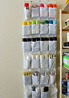 Garage Storage on a Budget- Tutorials and ideas, including this spray paint organizer idea from Hi Sugarplum! Perfect for paint storage in the basement.garage isnt heated or cooled so paint wont last out there. Your garage is a hardworking space. Organisation Hacks, Garage Organization Tips, Diy Garage Storage, Shed Storage, Organizing Ideas, Tool Storage, Garage Shelving, Shelving Units, Storage Shelves