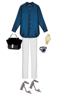 """""""1049-daytime pajamas"""" by cly88 ❤ liked on Polyvore featuring DKNY, J.Crew, Michael Kors, stripes, jewelry, watches and outfitonly"""