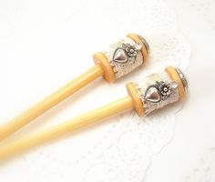 PAIR Wooden spools hair sticks shawl stick womens accessory lace thread chignon bun updo cottage shabby chic recycled hair accent tagt tenx. $15.95, via Etsy.
