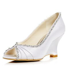 Women's Satin Wedge Heel Peep Toe Pumps Sandals With Rhinestone (047052670) - JJsHouse