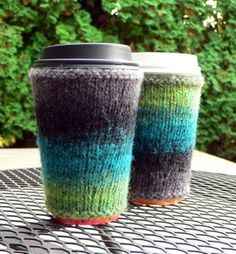 Free Knitting Pattern Coffee Cup Sleeve : Knit - Cup Sleeves on Pinterest Coffee Cozy, Coffee Cup Sleeves and Mug Cozy