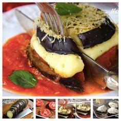 Você vai precisar de: berinjela, tomate, molho de tomate, fatias de queijo, queijo ralado e 15 minutos de forno. Veja aqui como fazer.
