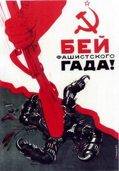 Soviet poster depicting a rifle butt crushing the swastika, symbol of the Nazis invaders.