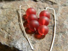 Red Sea Glass and Sterling Silver Earrings by Blackberrygardens, $21.00