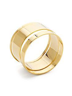 Set Of 3 Round Gold Bangle Bracelets by Noir Jewelry on Gilt