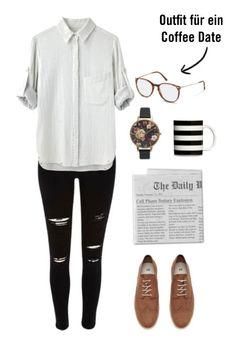 Suchen Sie nach einer Idee für Ihr Outfit für Ihre nächste Verabredung? Hellbraune Oxford-Schuhe und eine schwarze Jeans im Used-Look passen perfekt zu individuellen Accessoires wie einer Uhr mit Blumenmuster Muster und einer havannfarbenen Brille  von Rodenstock.