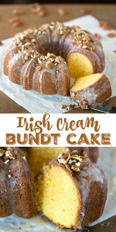 Irish Cream Bundt Cake - Perfect for St. Easy and delicious recipe for dessert for your Irish feast! Irish Desserts, Irish Recipes, Easy Desserts, Delicious Desserts, Pub Recipes, Scottish Recipes, Recipies, Yummy Food, Baking Recipes