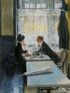 Lovers in a Cafe by Gotthardt Kuehl (1850-1915)