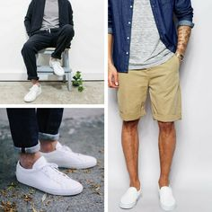 White sneakers are a crucial Summer item. Pair them with light wash denim for a warm, beach feel. Slip on some black jeans for...