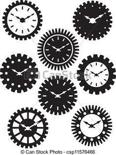 Vector - Clock Face in Gears Silhouette Illustration - stock illustration, royalty free illustrations, stock clip art icon, stock clipart icons, logo, line art, EPS picture, pictures, graphic, graphics, drawing, drawings, vector image, artwork, EPS vector art