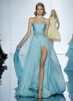 ZUHAIR MURAD Floor length dress with delicate blue chiffon draping and crystal embroidered detailing at the waist
