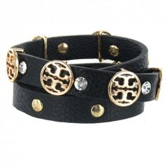 Black Leather & Crystal Wrap Bracelet.  A designer look for less by Jolie Bijoux