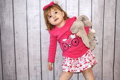 Toddler Girls Valentine Skirt Outfit with Riley Blake Hearts Fabric. $36.00, via Etsy.