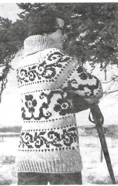 Cowichan Flower Design Sweater Knitting Pattern by KilbellaVintage - I do want to learn how to knit so I can make a sweater like this Fair Isle Knitting, Knitting Yarn, Knitting Sweaters, Cowichan Sweater, Beautiful Flower Designs, Sweater Knitting Patterns, Vintage Knitting, Flower Fashion, Flower Patterns