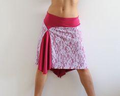 Skirt Tango Milonga, stretch Lace lilac Jersey fuchsia, Social dance wear, Argentine Tango clothing
