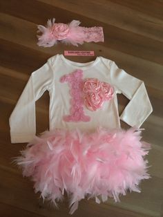 Cake Smash 1st Birthday Couture Outfit Full Feather Bloomer, Bodysuit & Headband Spring, Summer, Christening, Pageant,  New Baby Photo Prop on Etsy, $89.00
