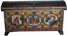 14th Century Italian Polychrome Cassone Florentine | From a unique collection of antique and modern blanket chests at https://www.1stdibs.com/furniture/storage-case-pieces/blanket-chests/