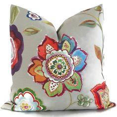 Colorful Floral Decorative Pillow Cover 18x18, 20x20, 22x22, Euro, Lumbar pillow, Accent Pillow, Throw Pillow, Cushion