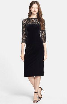 $138, Black Velvet Sheath Dress: Eliza J Lace Velvet Sheath Dress. Sold by Nordstrom. Click for more info: https://lookastic.com/women/shop_items/126914/redirect