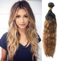 50g/pc 100% Real Human Hair Extensions 1b/33/27# Ombre Virgin Hair Weaving #WIGISS #HairExtension