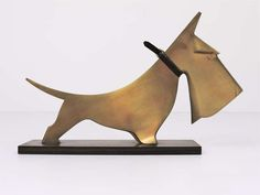 Carl Aubock Scotch Terrier Art Deco Sculpture from the 1920's | From a unique collection of antique and modern animal sculptures at https://www.1stdibs.com/furniture/more-furniture-collectibles/animal-sculptures/