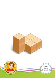 Buiding card difficulty 2 for block area, for kindergarten and preschool, kindergarten. Math Patterns, Block Area, Visual Learning, Preschool Math, Booklet, Building, Cards, Puzzle, Games