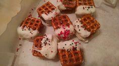 Mini chocolate bars melted between pretzels!