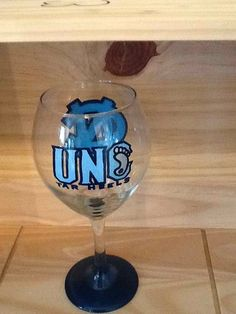 Hand Painted UNC Tarheels Wine Glass by brandiedmonds on Etsy, $20.00