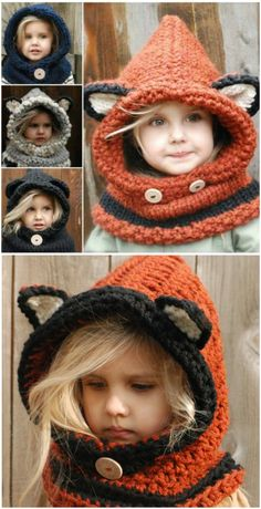 We have rounded up a collection of gorgeous Crochet and Knitted Cowls Patterns that you won't want to miss and we have a Fox Hooded Cowl Free Pattern too. Gilet Crochet, Crochet Beanie Hat, Crochet Fox, Knit Cowl, Knitted Cowls, Crochet Granny, Knitted Hats Kids, Baby Hats Knitting, Crochet Baby Hats