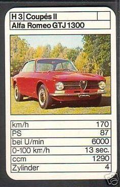 Alfa Romeo GT 1300 Junior Car Card, Top Trumps, Italy Spain, Classic Italian, Vintage Games, Alfa Romeo, Old Cars, Cars And Motorcycles, Hot Wheels