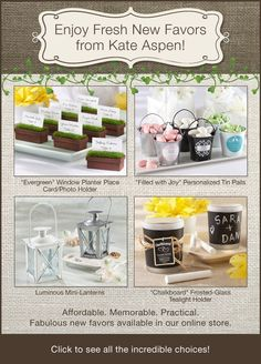 Wedding Favors + Baby Gifts http://bridalresources.theaspenshops.com/