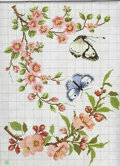 This Pin was discovered by ozn Butterfly Cross Stitch, Cross Stitch Bird, Beaded Cross Stitch, Cross Stitch Flowers, Cross Stitch Charts, Cross Stitch Designs, Cross Stitching, Cross Stitch Embroidery, Hand Embroidery