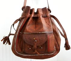 Moroccan tooled leather drawstring hand bag from Desdemona Style & Vintage