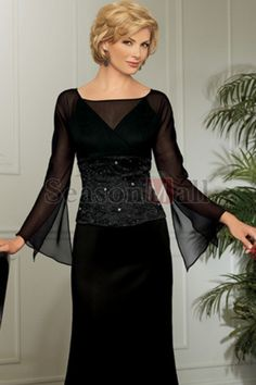 Sheath/Column Square Floor-length Long Sleeves Chiffon and Satin Mother of Bridal Dress with Beadings