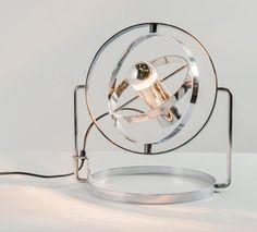 TRAVAIL FRANÇAIS Lampe de table «Saturnus» Métal chromé Vers 1970