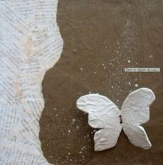 white clay butterflies  - kitchen wall