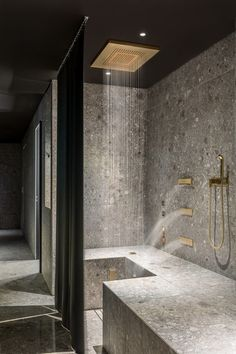 dornbracht contemporary shower in gold with rain ceiling panel and body sprays - the ultimate guide to luxury plumbing by the delight of design Bathroom Taps, Small Bathroom, Master Bathroom, Gold Bathroom, Bathroom Ideas, Rain Shower Bathroom, Bathroom Cabinets, Bathroom Fixtures, Bad Inspiration