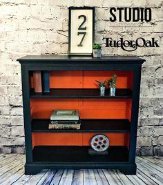 Tudor Oak Black and Orange Bespoke Bookcase £1,409.00 made in England by Tudor Oak, refinished by Studio 27 in Heritage Charcoal and Orange. | Upcycled Bookcase | #UpcycledBookcase