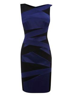 Elegent Double-color V-neck Little Party Dress