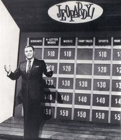 Jeopardy! is an American television quiz show created by Merv Griffin. The show's broadcast history in the United States spans nearly five decades. The original version debuted on NBC on Mar 30, 1964, until Jan 3, 1975. A weekly nighttime edition of the show aired from Sept 9, 1974 to Sept 5, 1975. A revival, The All-New Jeopardy!, ran as a daytime series from Oct 2, 1978 - Mar 2, 1979, hosted by Art Fleming, with Don Pardo serving as announcer for the 1st 2 & John Harlan the 78–79 version.