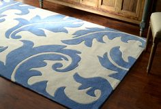 Rugs USA Keno Leaves ACR219 Blue Rug. Rugs USA Labor Day Sale up to 80% Off! Area rug, rug, carpet, design, style, home decor, interior design, pattern, trends, home, statement, fall, cozy, sale, discount, interiors, house, free shipping.