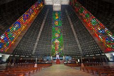 Adding warmth to an otherwise austere religious site, four rectilinear stained-glass windows stretch some 200 feet to the ceiling of this beehive-shaped cathedral, which was completed in 1976. As many as 20,000 people can fill the Edgar Fonseca–designed church, which holds the Museu de Arte Sacra in its subterranean space.