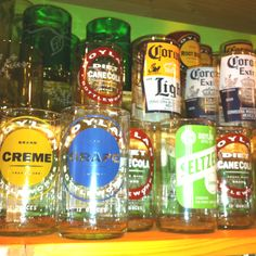 Recycled glass bottles cut and made into drinking glasses Beer Bottles, Bottles And Jars, Repurpose, Reuse, Recycled Glass Bottles, Bottle Cutting, Latch Hook Rugs, Decorating Ideas, Craft Ideas